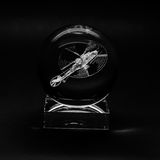 Volumetric laser engraving inside the glass. Stock Images