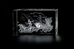 Volumetric laser engraving inside the glass. Royalty Free Stock Images