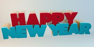Volumetric letters of the text `Happy New Year`, 3d image. On a light background Stock Images