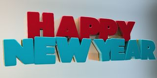 Volumetric letters of the text `Happy New Year`, 3d image. On a light background Stock Photo