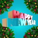 Volumetric letters of the text `Happy New Year`, 3d image. On a light background Royalty Free Stock Images