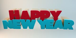 Volumetric letters of the text `Happy New Year`, 3d image. On a light background Stock Photography