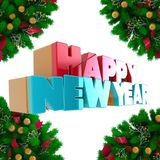 Volumetric letters of the text `Happy New Year`, 3d image. On a light background Royalty Free Stock Photos