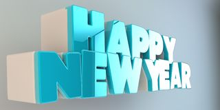 Volumetric letters of the text `Happy New Year`, 3d image. On a light background Stock Photos