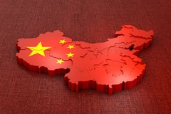 China on the flag. A volumetric map of China on the flag. 3d rendering vector illustration