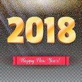 Volumetric numbers from gold. Happy New Year 2018. Red banner with text. Congratulation poster on snow backdrop. 3D. Illustration on transparent backdrop Royalty Free Stock Photography