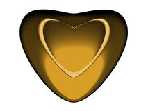 Volumetric red heart with gold heart inside. Stock Photography