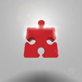 Volumetric red piece the puzzle. Eps10 Stock Photography