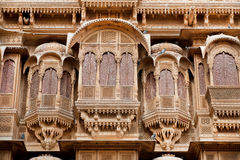 Volumetric shape of balconies of ancient stone fortress, India Stock Images