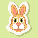 Volumetric sticker with a picture of a rabbit in cartoon style. Stock Images