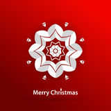 Volumetric white snowflake on a red background. White mandala. Christmas. Celebratory bright background for Merry Christmas and New Year. Greeting card Stock Photo
