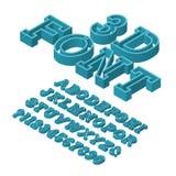 Volumetrische brievenlettersoort 3D Doopvont Geïsoleerd isometrisch Engels alfabet met aantallen Stock Afbeeldingen