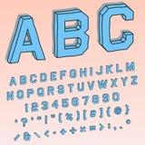 Volumetrische 3D doopvont in perspectief met alfabetische en numerieke karakters vector illustratie