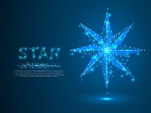 Volumetrische ster met acht stralen Veelhoekige ruimte lage poly met het verbinden van punten en lijnen wireframe structuur Vecto vector illustratie