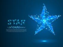 Volumetrische ster met vijf stralen Veelhoekige ruimte lage poly met het verbinden van punten en lijnen wireframe structuur Vecto stock illustratie
