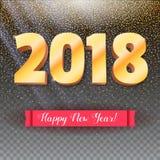 Volumetrische Zahlen vom Gold Guten Rutsch ins Neue Jahr 2018 Rote Fahne mit Text Glückwunschplakat auf Schneehintergrund 3d Lizenzfreie Stockfotografie