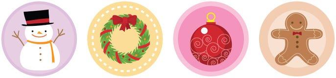 4 volumi piani 3 delle icone di Natale Immagini Stock