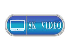 """Voluminous blue button with the pictogram and the words """"8K VI. Oblong volume button of blue color with the icon and the inscription `8K VIDEO`, white Royalty Free Stock Photo"""