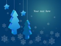 Three-dimensional Christmas trees and stars hanging on the strings, blue background with snowflakes ,place for text. Voluminous blue Christmas trees and stars vector illustration