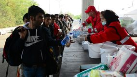 Voluntários da ajuda de distribuição da cruz vermelha para refugiados em Hungria
