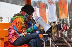 Voluntario en XXII los juegos de olimpiada de invierno Sochi 2014 Imagen de archivo libre de regalías