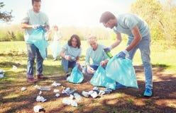 Voluntarios con los bolsos de basura que limpian área del parque fotografía de archivo libre de regalías