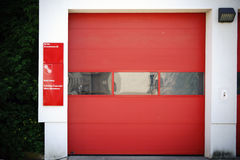 Voluntary fire brigade Mainz. Mainz, Germany - May 14, 2017: The entry and exit gate of the garage of the volunteer fire brigade Mainz-Marienborn on May 14, 2017 stock photo