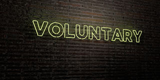 VOLUNTARY -Realistic Neon Sign on Brick Wall background - 3D rendered royalty free stock image Stock Image