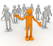 Volunteer. One human stand out of the crowd. 3D render Royalty Free Stock Photos