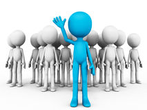 Volunteer. Coming out raising his hand out of a group of 3d people, the  is in blue while others are in grey stock illustration