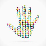Volunteer. Abstract volunteer hand made out of large group of people stock illustration