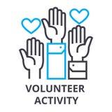 Volunteer activity thin line icon, sign, symbol, illustation, linear concept, vector vector illustration