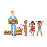 Volunteer Bringing The Food To Hungry Children Royalty Free Stock Image