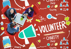 Volunteer Charity Help Sharing Giving Donate Assisting Concept Royalty Free Stock Photography