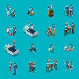 Volunteer Charity Isometric People Set. Isolated volunteer charity isometric people icon set and employees help needy patients vector illustration vector illustration
