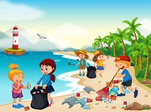 Volunteer Children Cleaning Beach. Illustration stock illustration