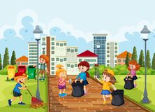 Volunteer children cleaning park. Illustration royalty free illustration