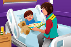 Volunteer at the children hospital. A vector illustration of volunteer reading a story at the children hospital Royalty Free Stock Image