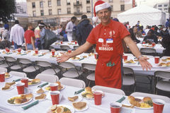 Volunteer at Christmas dinner for the homeless, Los Angeles, California Royalty Free Stock Photography