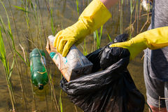 Volunteer collecting garbage from the lake Royalty Free Stock Photography