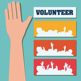 Volunteer design. Volunteer design over blue background, vector illustration Royalty Free Stock Photo