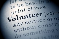 Volunteer. Fake Dictionary, Dictionary definition of the word Volunteer Stock Photo