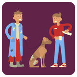 Volunteer is Feeding homeless man and dog Royalty Free Stock Images