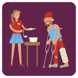 Volunteer is Feeding with homeless man. Young female volunteer is Feeding with homeless man. Flat style vector illustration isolated stock illustration