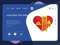 Volunteer fire department Landing page website template design. Quality One Page volunteer fire department Website Template Vector Eps, Modern Web Design with Royalty Free Stock Images