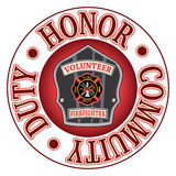 Volunteer Firefighter Duty Honor. Is an illustration of a firefighter's or fireman's badge or shield Royalty Free Stock Images
