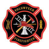 Volunteer Firefighter Maltese Cross. Illustration of the firefighter or fire department Maltese cross symbol for volunteer firefighters. Includes firefighter Stock Image