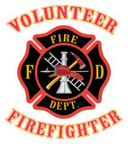 Volunteer Firefighter With Maltese Cross. Illustration of volunteer firefighter or fire department Maltese cross symbol with firefighter tools symbol Royalty Free Stock Photo