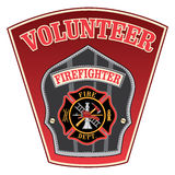 Volunteer Firefighter Shield. Is an illustration of a firefighter or fireman badge with a Maltese cross and firefighter tools logo inside of a shield shape Royalty Free Stock Photography