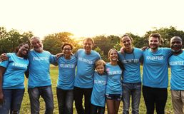 Volunteer group of people for charity donation in the park Royalty Free Stock Images